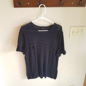 Topshop Navy Knit Short Sleeve Sweater